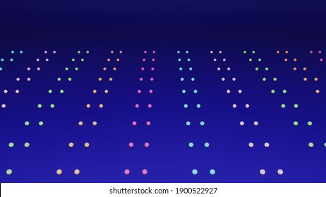 3D illustration of dots on dark blue background