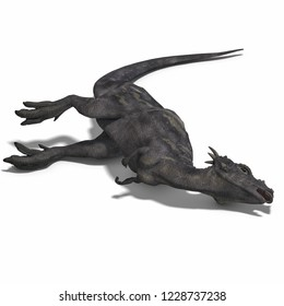 3D illustration of a dragon dinosaur dracorex over white