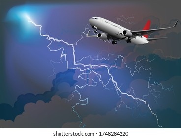 3D illustration dramatic thunderstorm with lightning arcing across a darkened cloudy sky with passenger airplane with landing gear down