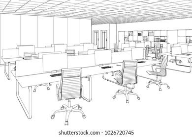 3d illustration. Drawing room