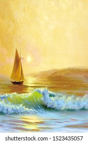 3D illustration drawing sailboat, sunrise, sea, nature drawing, decoration