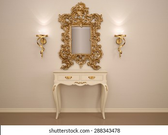 3D illustration of a dressing table with a mirror in a gold fram