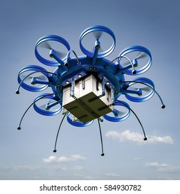 3d illustration - Drone with package