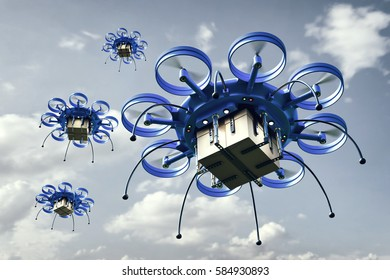 3d illustration - Drones with packages