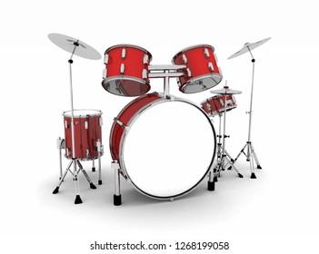 3D Illustration - drum set red silver