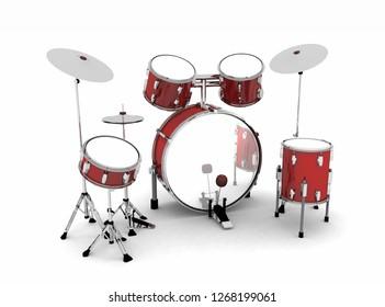 3D Illustration - drum set red silver 2