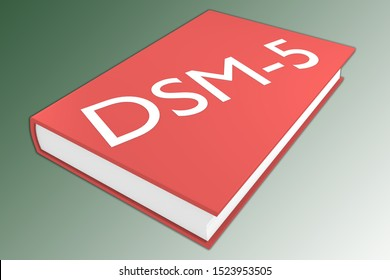 3D illustration of DSM-5 script on a book, isolated on green gradient.