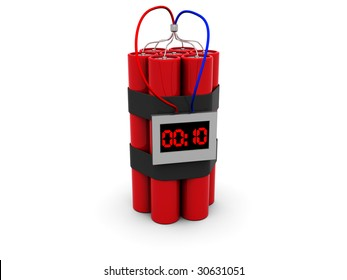 3d illustration of dynamite with timer over white background