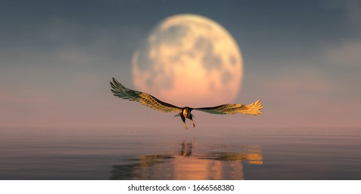 3d illustration of eagle flying with the moon in the background