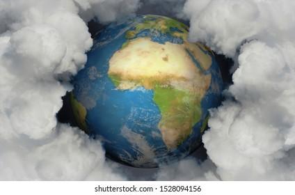3D illustration, Earth and global emissions