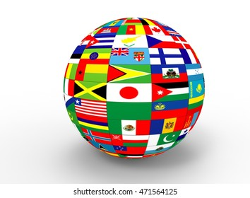 World flags on globe usa great stock illustration 609142271 3d illustration of earth globe with flags white background isolated icon for game web freerunsca Image collections