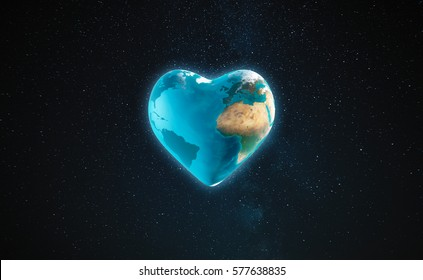 3D Illustration - The earth with heart shape