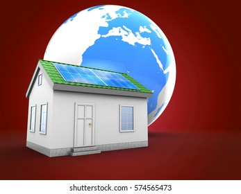 3d illustration of earth over red background with green house