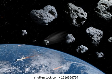 3D illustration earth planet and meteorites in deep space, science fiction fantasy background. Elements of this image furnished by NASA