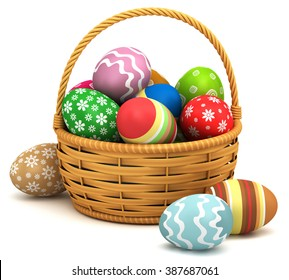 3d illustration. Easter eggs in a basket on a white background.
