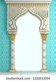 3d illustration. Eastern arch of the mosaic. Carved architecture and classic columns. Indian style. Decorative architectural frame .