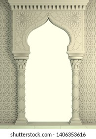 3d illustration. Eastern biege arch of the mosaic. Carved architecture and classic columns. Indian style. Decorative architectural frame .