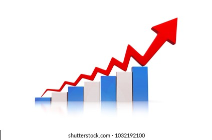 3d illustration of economic growth graph