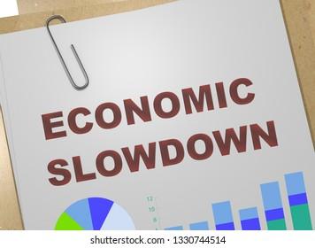 3D illustration of ECONOMIC SLOWDOWN title on business document