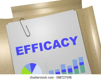 "3D illustration of ""EFFICACY"" title on business document"
