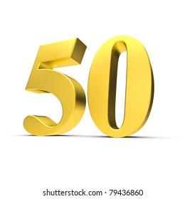 3D Illustration einer goldenen Fünfzig