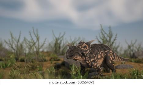 3d illustration of the einiosaurus on grassy terrain