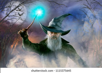 3D Illustration of an elderly the wizard Merlin