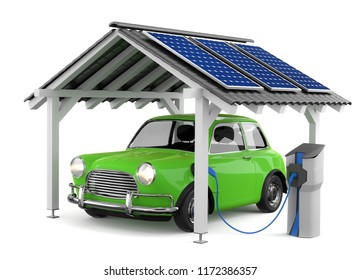 3D illustration Electric car Solar energy