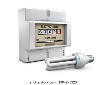 3d Illustration of Electric meter on white background