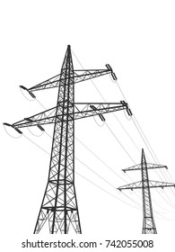 3d illustration of an electric pylons isolated on white background