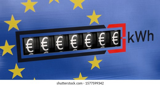 3D illustration, Electricity costs in Europe