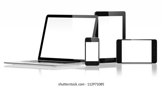 3D illustration of electronic devices isolated on white