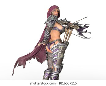 3D Illustration of an Elven Archer in Fantasy Armor Isolated on White