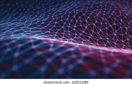 Illustrazione 3D, mesh in rilievo che rappresenta connessioni internet, cloud computing e rete neurale.