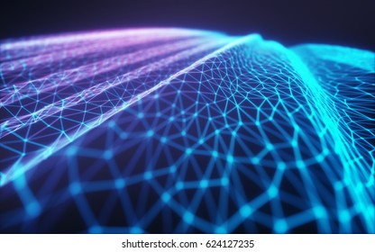 3D illustration, embossed mesh representing internet connections, cloud computing and neural network.