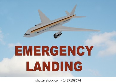 3D illustration of EMERGENCY LANDING title on cloudy sky as a background, under an airplane.