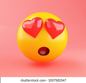 3d illustration. Emoji in Love. Social media concept.
