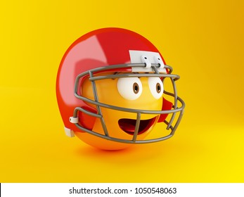 3d illustration. Emoji with Red American football helmet. Sports and Social media concept.