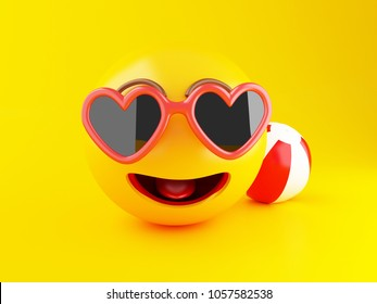 3d illustration. Emoji with sunglasses and beach ball on yellow background. Summer vacation concept.