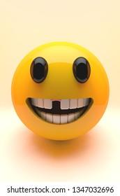 3D illustration of emoji toothless.