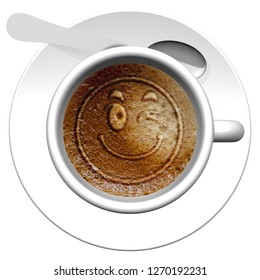 3D illustration. Emoticon cup of coffee.