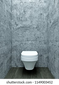 3d illustration of empty bathroom amd nobody in it. Industrial contemporary toilet, lavatory, lounge cabin with wc seat, grey concrete wall, grey wooden tiles, modern architecture, interior design.