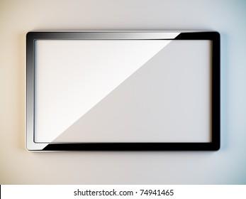 A 3D illustration of empty black plastic frame.
