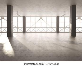 3d illustration of empty cement Parking Garage interior