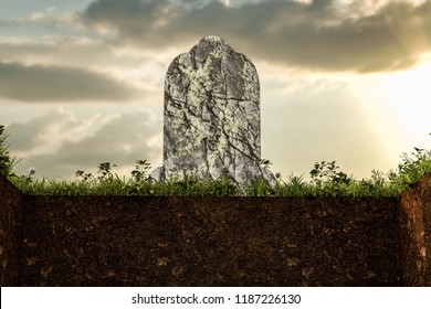 3d illustration of an empty grave with old tobmstone on top