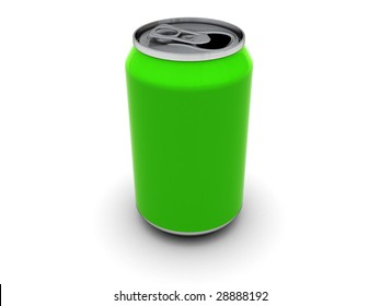 3d illustration of empty green can over white background
