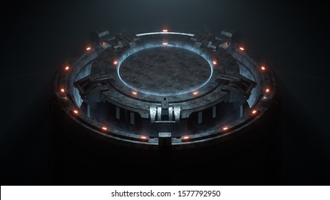 3d illustration of an empty helipad in a sci-fi hangar. Night scene of an industrial old scratched metal lift. Concept art futuristic helipad illuminated by red lights. View of circle helicopter deck.