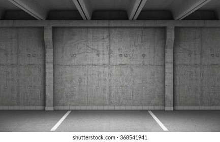 3d illustration of empty parking lot wall. Urban, industrial background.