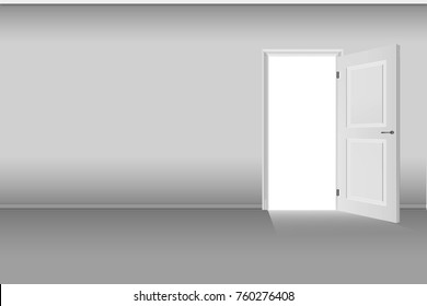 3D illustration, empty room with opened door.