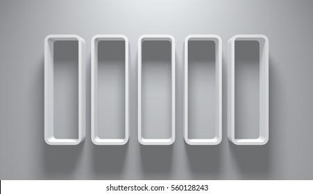 3D Illustration - Empty Round Bookshelves on wall  4